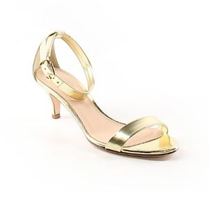 J. Crew Metallic Strappy Gold Heels - 8